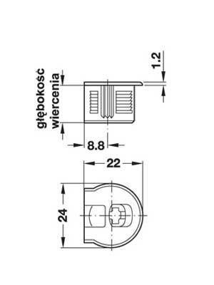 Złącze mimośrodowe Rafix 20 bez zaczepu niklowane