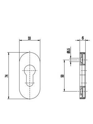 Rozeta drzwiowa PZ 6 mm owalna