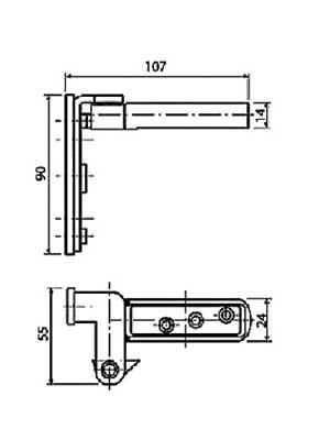 CAB-R Zawias wpuszczany do drzwi bezprzylgowych, chromowany matowy