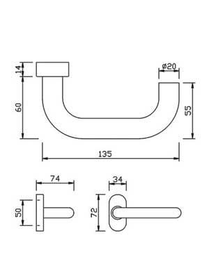 Klamka drzwiowa DG60 na owalnej rozecie 1/2 kpl - stal szlachetna