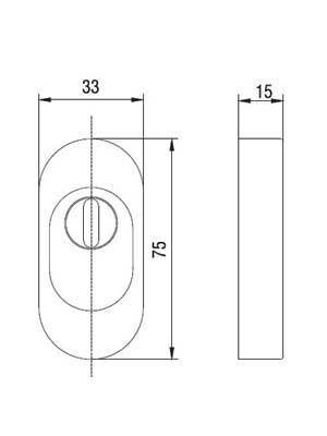 Rozeta drzwiowa z osłoną wkładki PZ 15 mm owalna, F9/stal