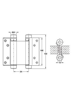 Zawias do drzwi wahadłowych 100 mm - nikiel 2 sztuki