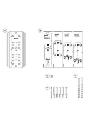 Zestaw szablonów do wiercenia pod klamki drzwiowe na szyldach 210 mm lub okrągłych rozetach