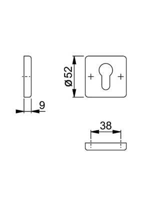 Rozeta drzwiowa PZ kwadratowa F4/stare złoto