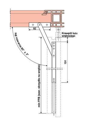 Okienny ogranicznik rozwarcia 191 z hamulcem ciernym i zaczepem