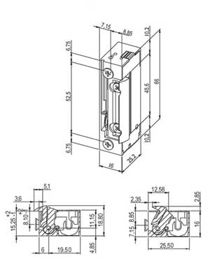Elektrozaczep 25,5x16x66 mm Typ A