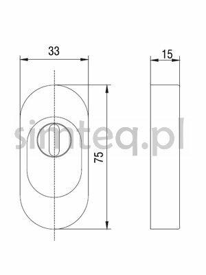Rozeta drzwiowa z osłoną wkładki PZ 15 mm owalna, stal szlachetna
