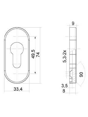 Rozeta drzwiowa PZ 9 mm owalna, stal szlachetna